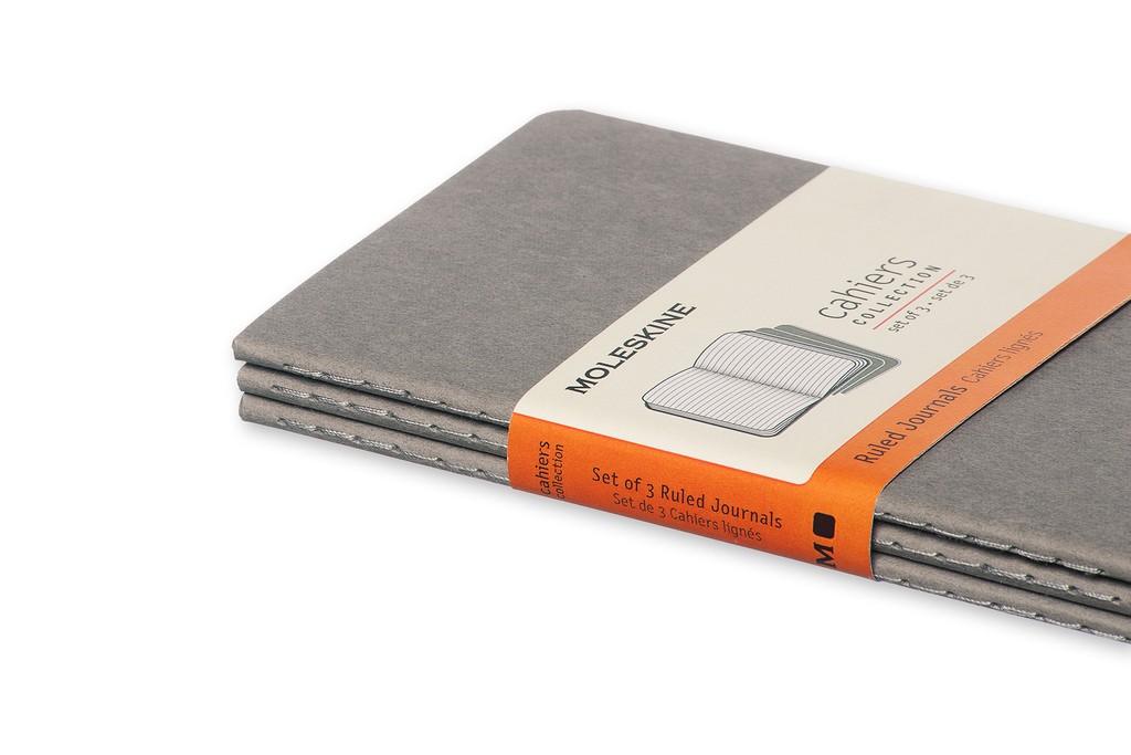 Caderneta Moleskine Cahier, Cinza, Conjunto com 3 Unidades