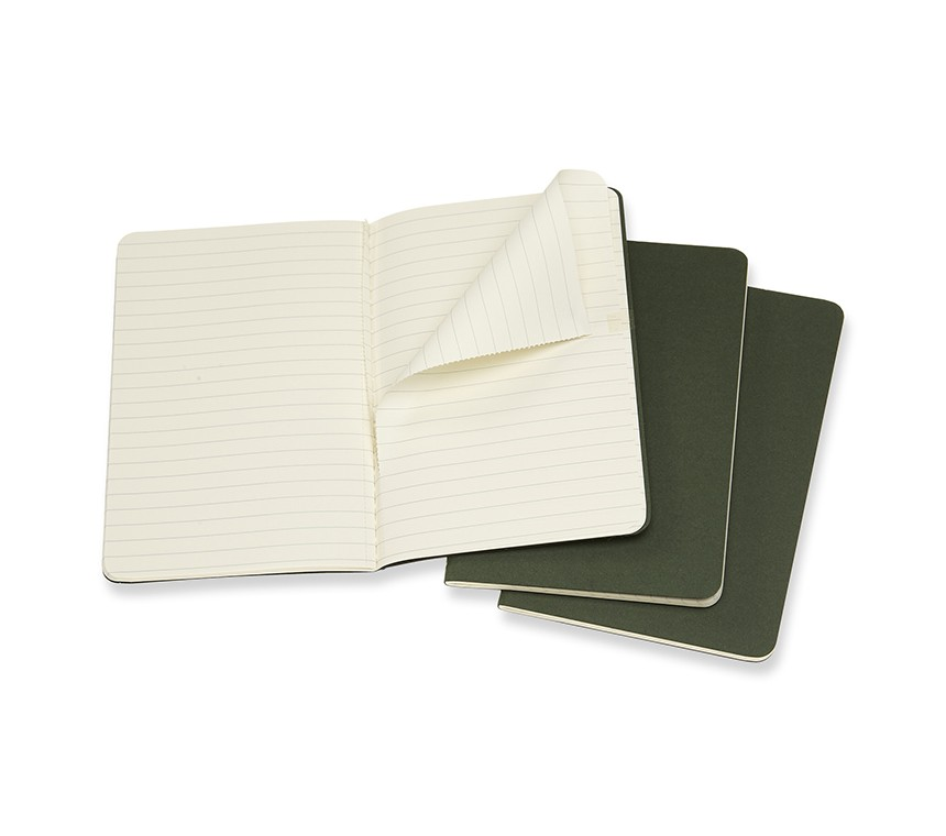 Caderneta Moleskine Cahier, Verde Folha, Conjunto com 3 Unidades