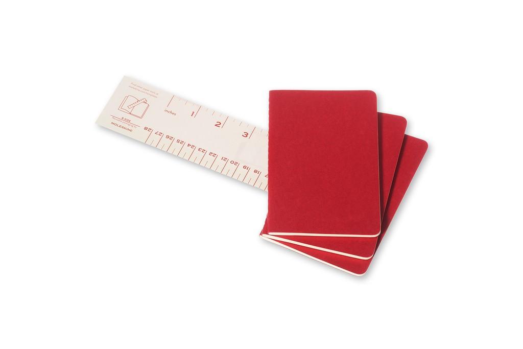 Caderneta Moleskine Cahier, Vermelho, Conjunto com 3 Unidades - Pautado - Bolso (9x 14 cm)