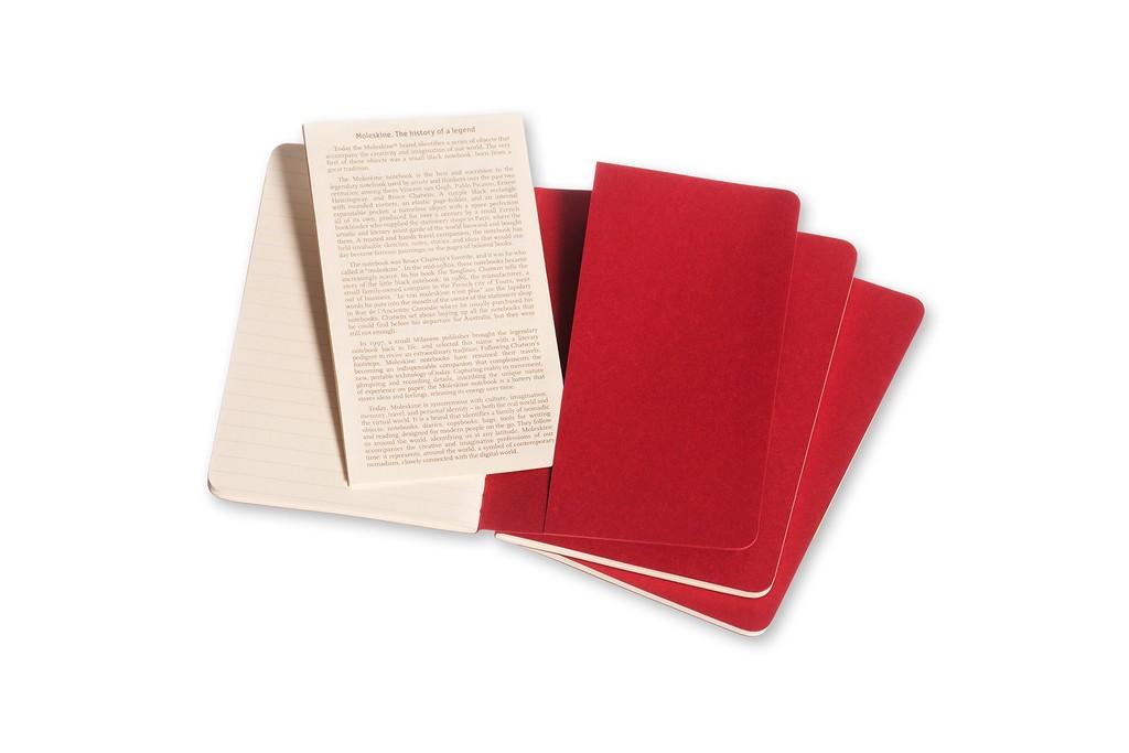 Caderneta Moleskine Cahier, Vermelho, Conjunto com 3 Unidades