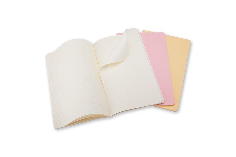 Caderneta Moleskine Cahier, Conjunto com 3 Unidades, Tons Pastéis, Com Pauta, Extra Grande (19 x 25 cm)