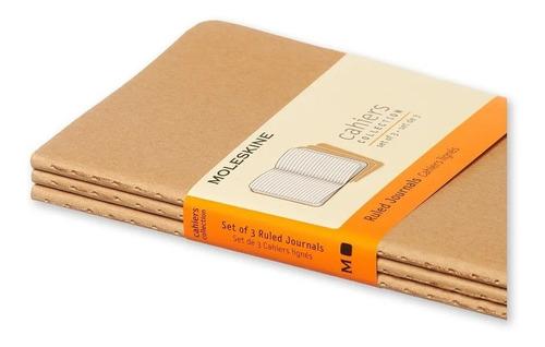 Caderneta Moleskine Cahier, Kraft, Conjunto com 3 Unidades - Pautado - Bolso (9x 14 cm)