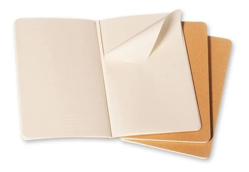 Caderneta Moleskine Cahier, Kraft, Conjunto com 3 Unidades
