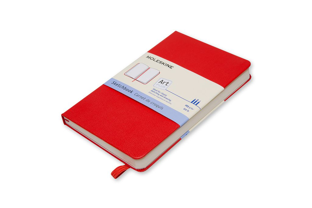 Caderno de Esboços Moleskine Clássico, Vermelho, Capa Dura, Sem Pauta, Tamanho Bolso