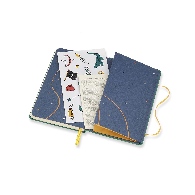 Caderno Edição Limitada Peter Pan Indians De Bolso Pautado Verde De Malaquite ( 9 x 14 cm )