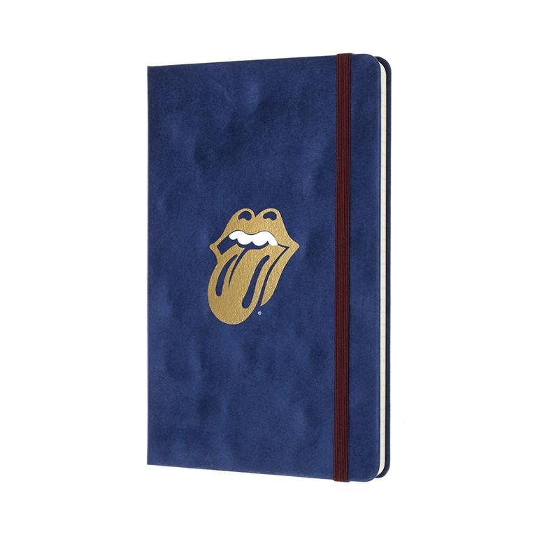 Caderno Moleskine Edição Limitada, Rolling Stones, Veludo Azul, Capa Dura, Pautado, Grande