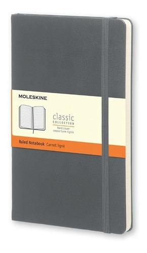 Caderno Moleskine Clássico, Cinza Ardósia, Capa Dura, Pautado, Bolso (9 x 14 cm)