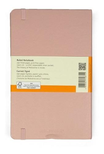 Caderno Moleskine Clássico, Rosa Claro, Capa Dura, Pautado, Grande (13 x 21 cm)