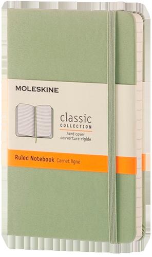 Caderno Moleskine Clássico, Verde Óxido, Capa Dura Pautado