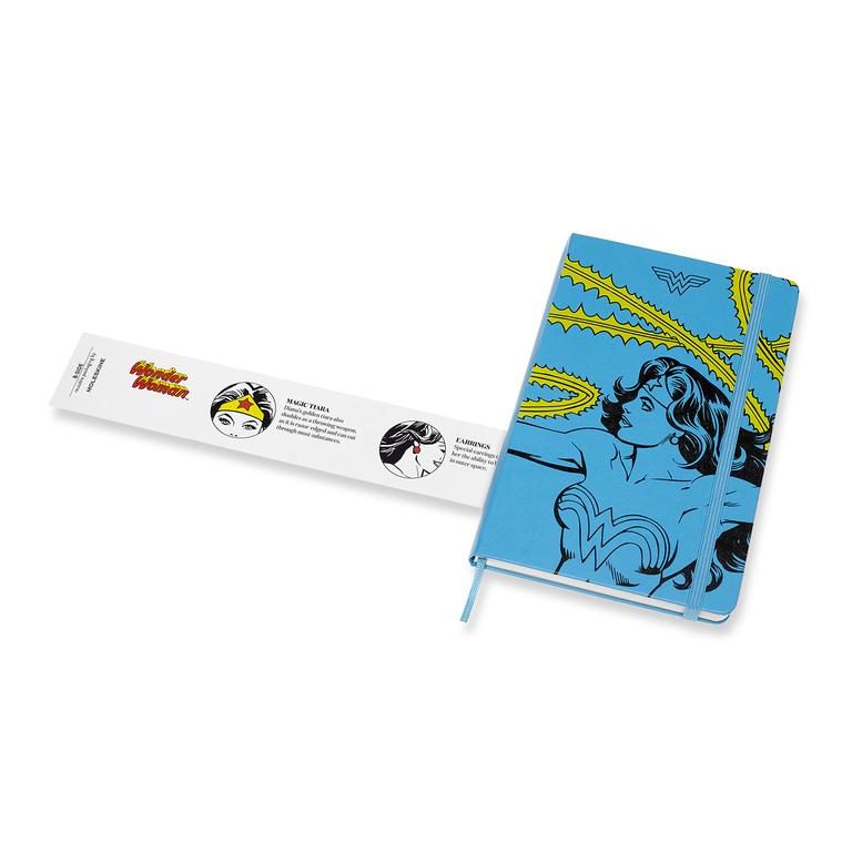 Caderno Moleskine Edição Limitada, Mulher Maravilha , Azul, Capa Dura, Pautado, Grande