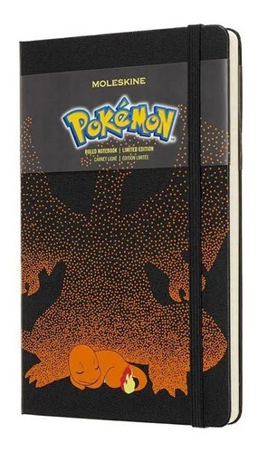 Caderno Moleskine Edição Limitada, Pokémon, Charmander, Capa Dura, Pautado, Grande