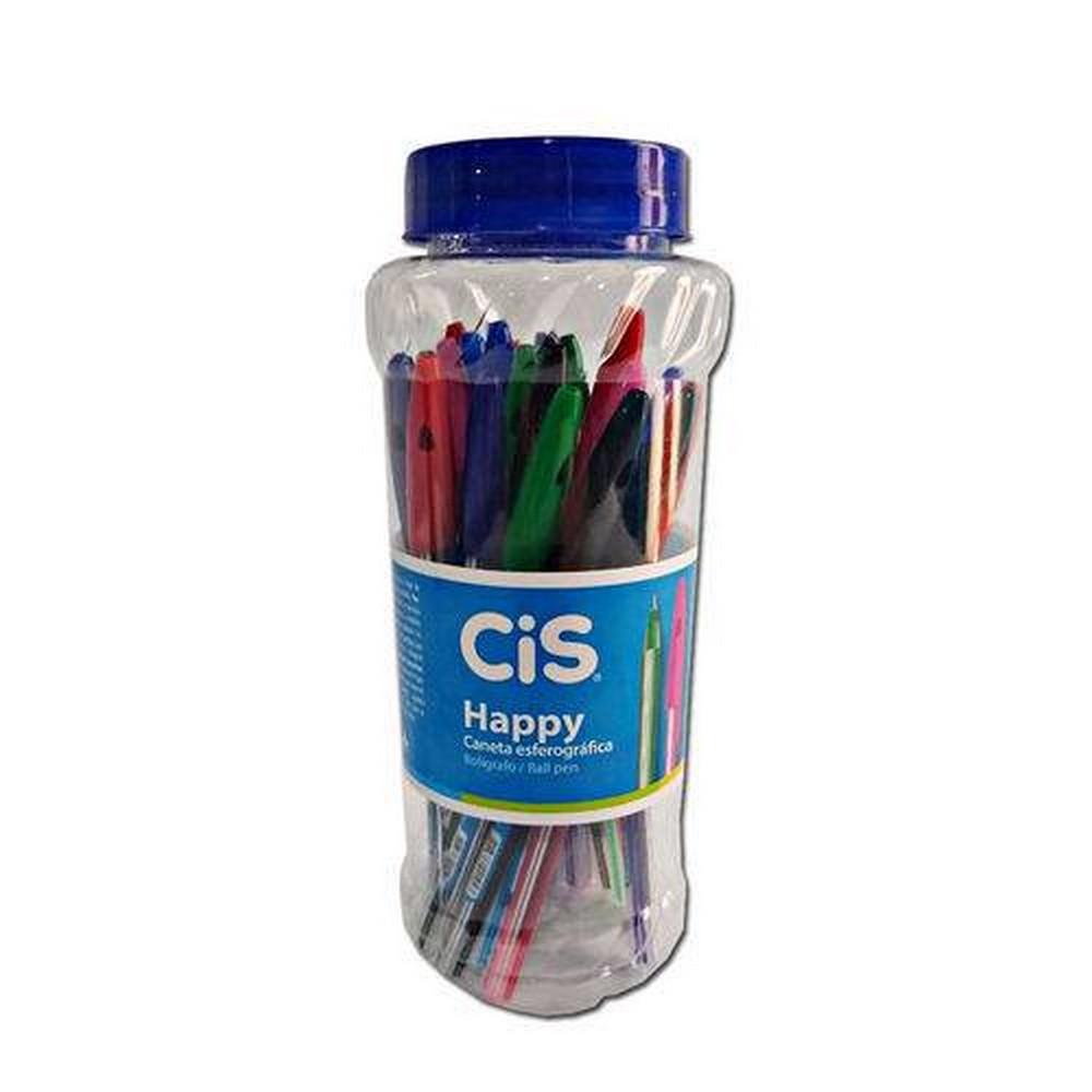 Caneta Esferográfica Happy 0.7 mm CiS - Pote c/ 24 uni