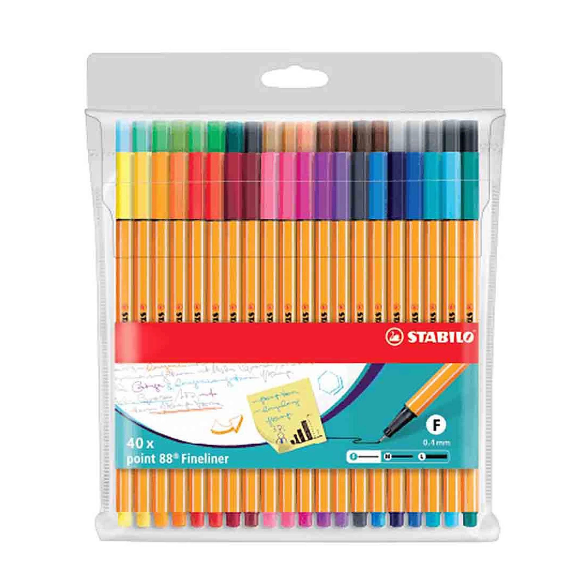 Caneta Extrafina, Stabilo, Point 8840, Estojo com 40 cores