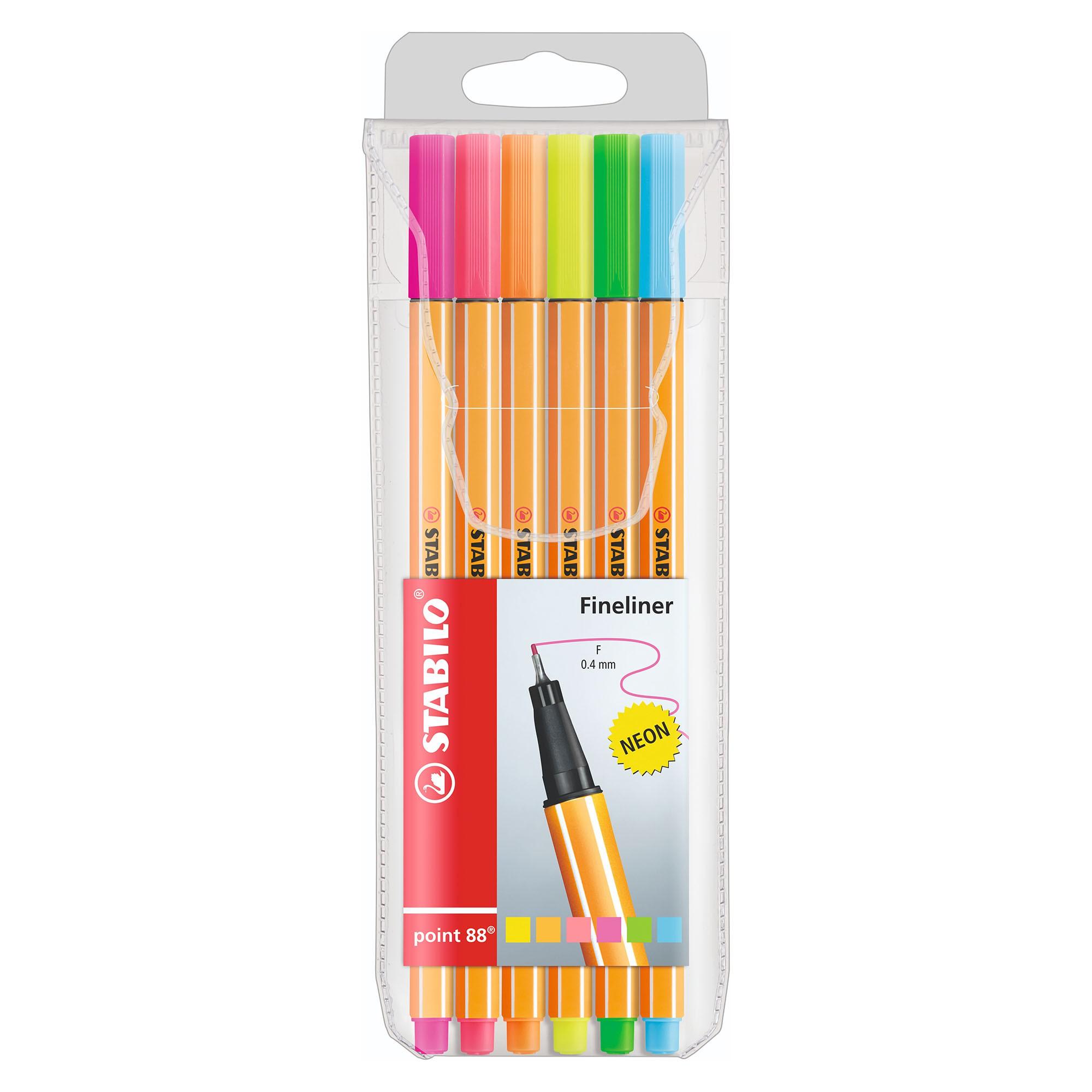 Caneta Extrafina, Stabilo, Point 88/6, Estojo com 6 cores, Neon