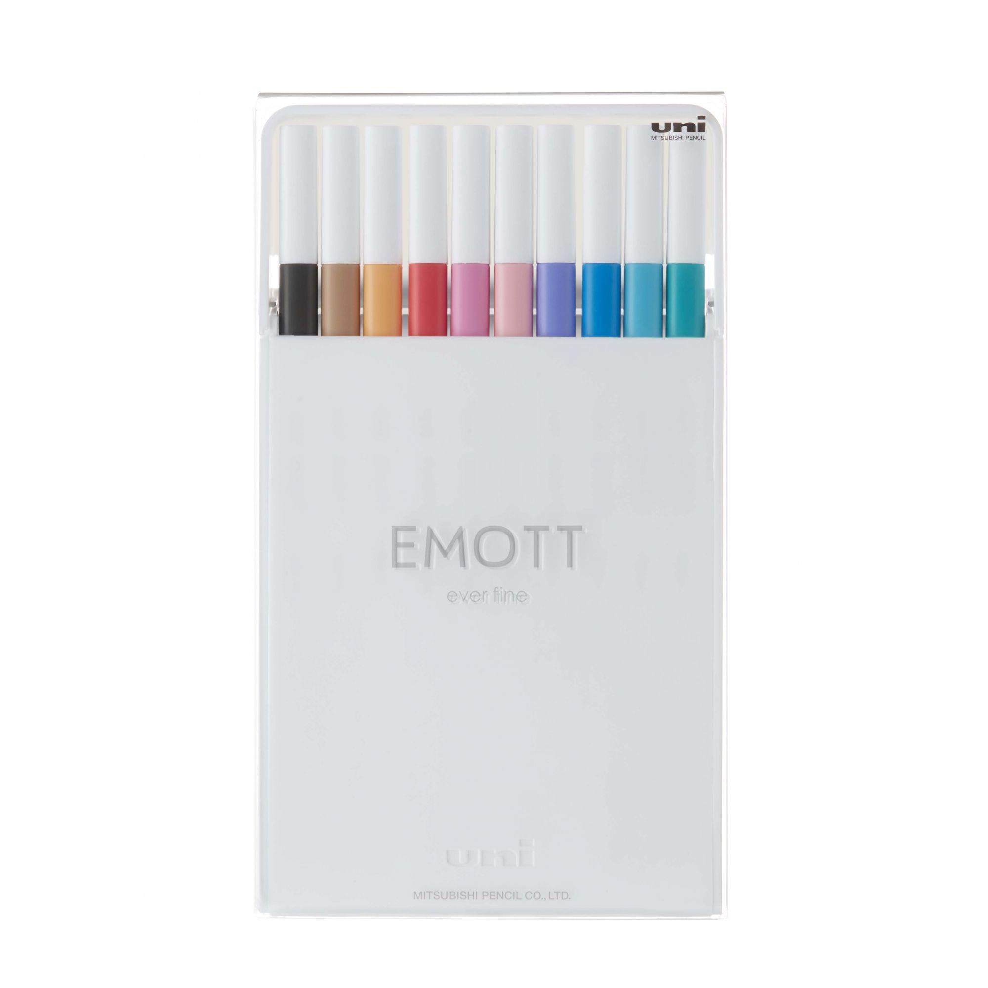 Caneta Uniball Emott 0.4mm - Estojo com 10 Cores Sortidas - N.02 - Soft Pastel Colors