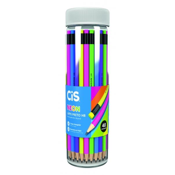 Lápis Preto com Borracha HB Sextavado Neon CiS - Pote c/ 48 Uni