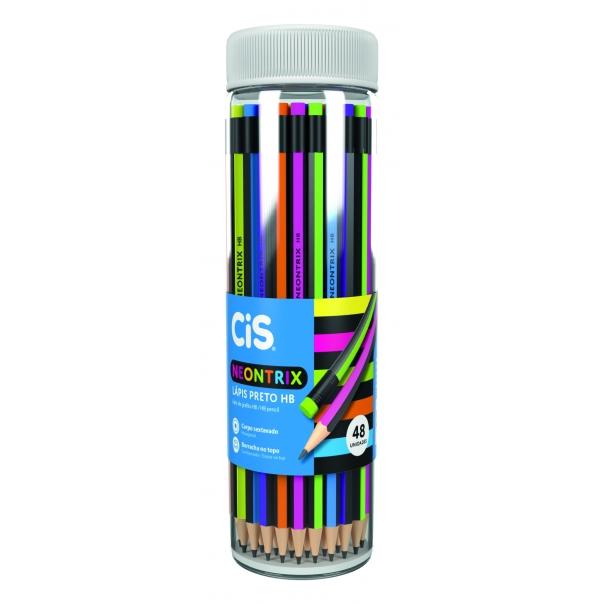 Lápis Preto com Borracha HB Sextavado Neontrix CiS - Pote c/ 48 Uni