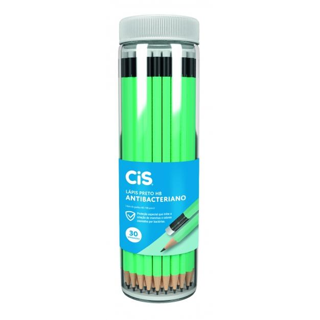 Lápis Preto HB Nº 2 Sextavado Antibacteriano CiS - Pote c/ 30 uni