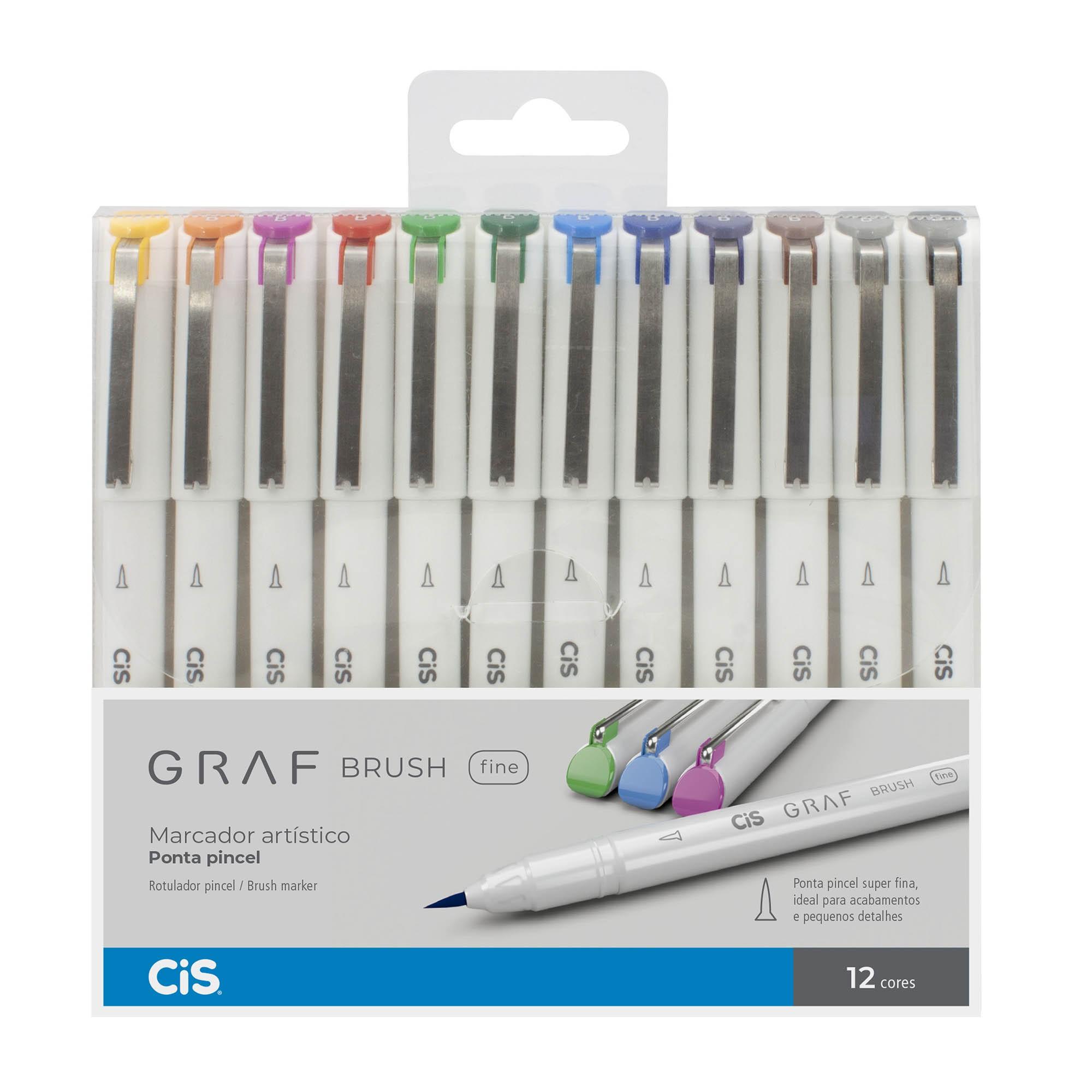Marcador Artistico, Cis, Graf Brush Fine, Com 12 Cores
