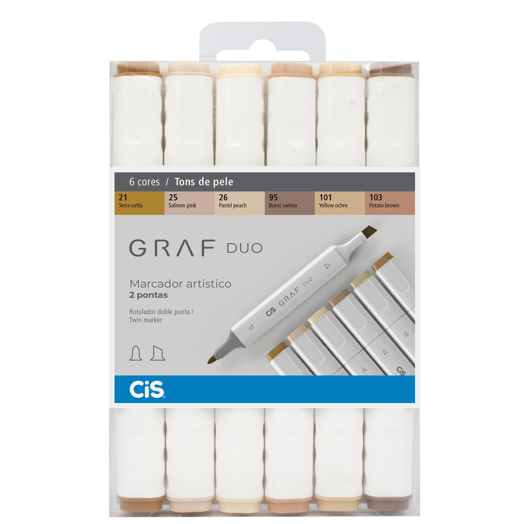 Marcador Artistico, Cis, Graf Duo, Com 6 Cores