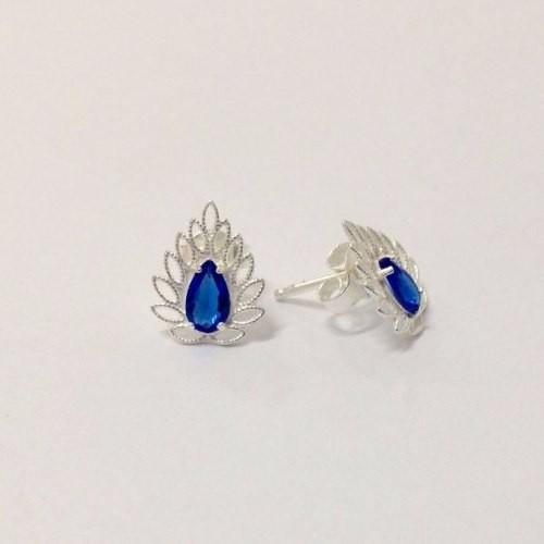 Brinco Pedra Azul De Prata Pequeno