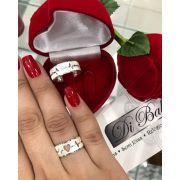 Aliança de Namoro Diamantada Coração com Batimentos (Par)