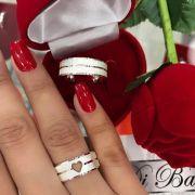Aliança de Namoro Diamantada Coração Vazado (Par)