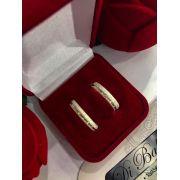 Aliança de Prata com Folheado a Ouro e Zircônia (Par) - 4 mm
