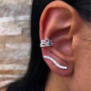 Brinco de Prata Ear Cuff com Zircônia