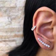 Brinco de Prata Ear Cuff  com Zircônias