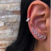 Brinco Ear Cuff Corações de Prata