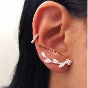 Brinco Ear Cuff Flor de Prata