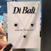 Conjunto de Prata Coração Azul Marinho