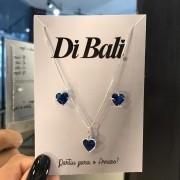 Conjunto de Prata Coração Azul Marinho Médio