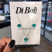 Conjunto de Prata Coração Verde Esmeralda