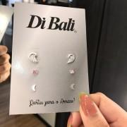 Kit 3 Brincos de Prata Asa, Zircônia Rosa e Lua