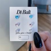 Kit 3 Brincos de Prata Coração Zircônia Colorido - Coleção Mozão
