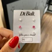 Kit 3 Brincos de Prata Zircônia Branca e Rosa
