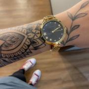 Kit Relógio Lince Dourado com Fundo Preto - LRGH152L