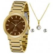 Kit Relógio Lince Dourado - LRGH142L