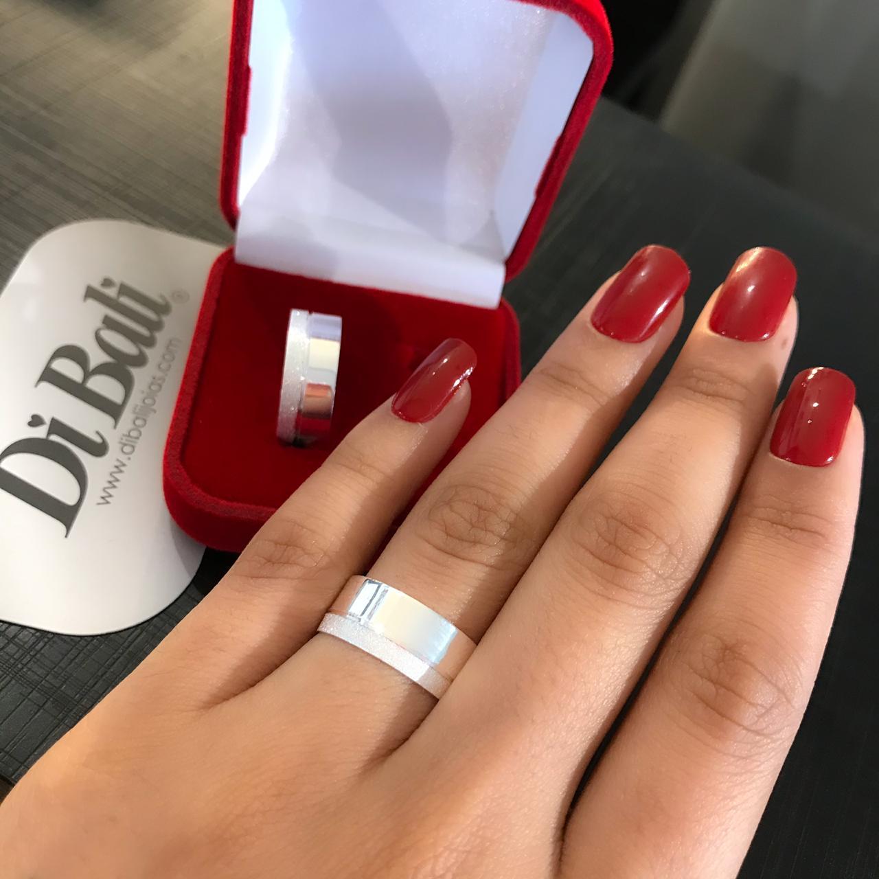 Aliança de Prata Com Diamantado (Par)