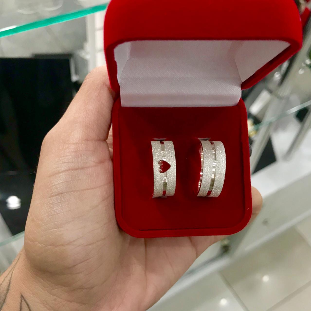 Aliança de Prata Diamantada Coração e Zircônia (Par)