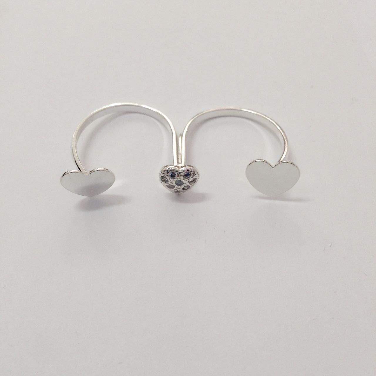 Anel Duplo Coração de Prata