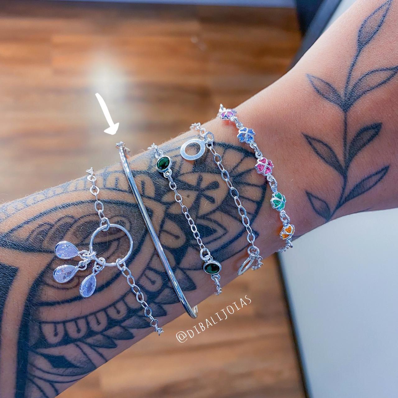 Bracelete de Prata Fino Liso