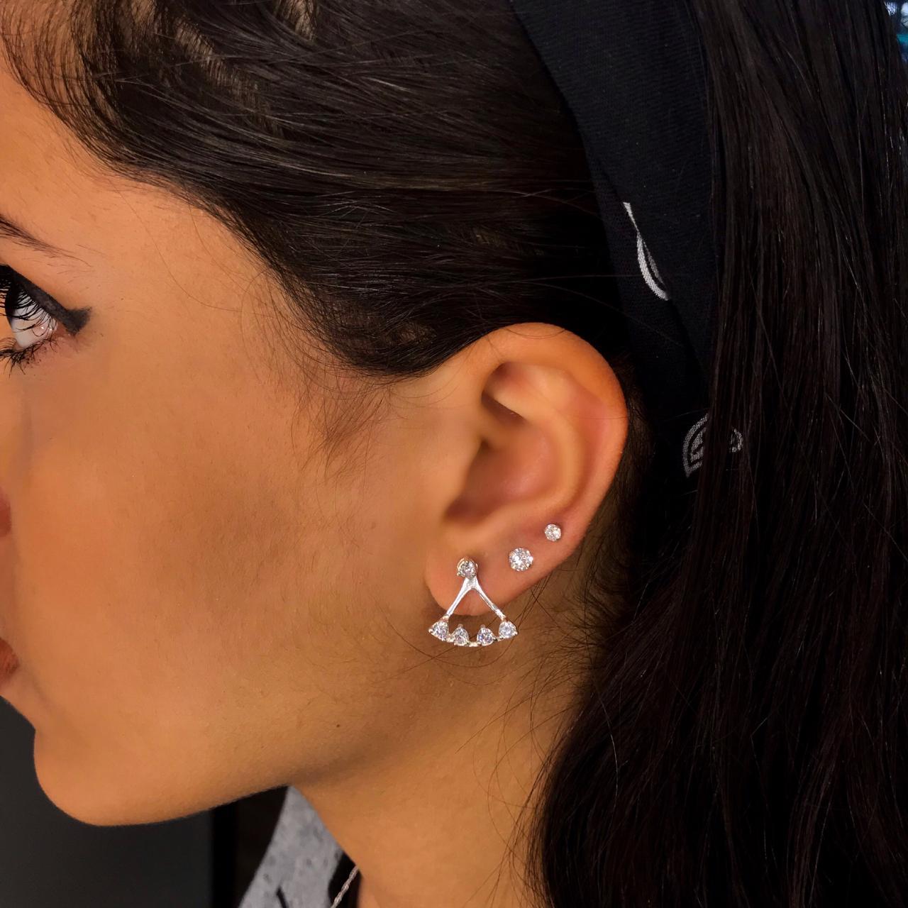Brinco de Prata Ear Jacket com Zircônias