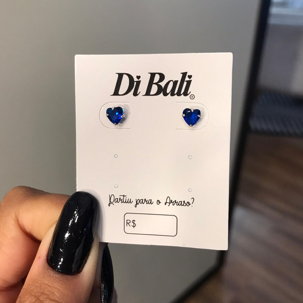 Brinco de Prata Coração de Zircônia Azul 5MM