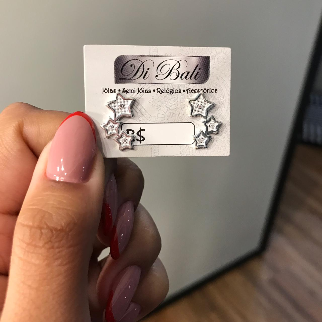 Brinco de Prata Ear Cuff Estrelas Pequena
