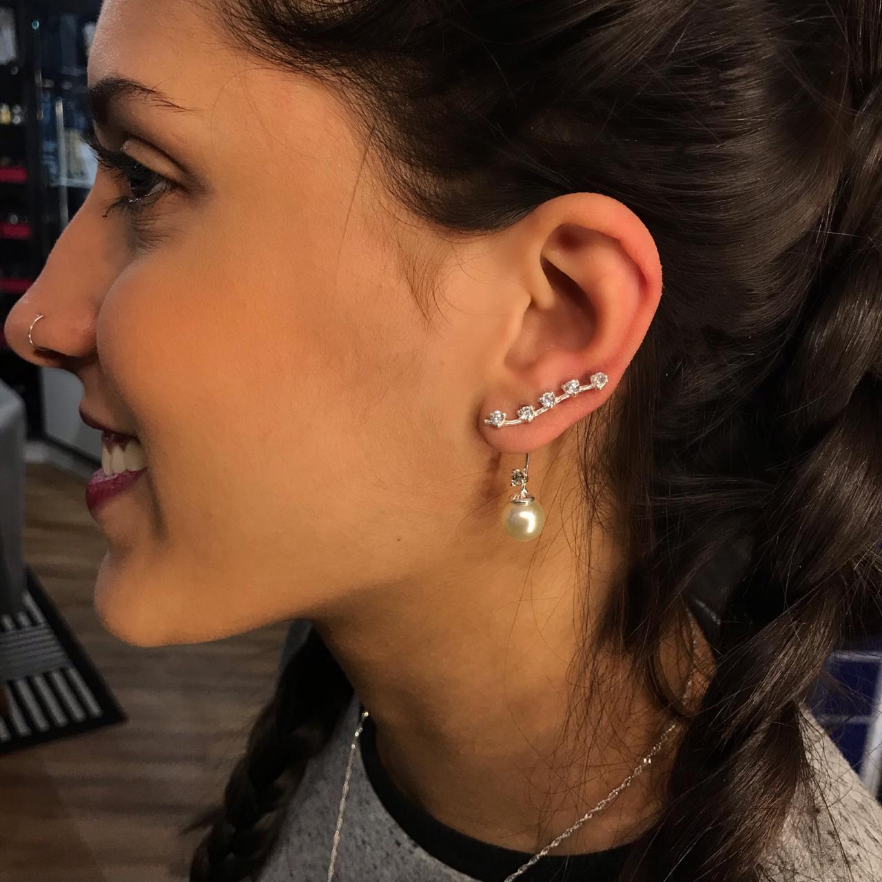 Brinco de Prata Ear Cuff Zircônia e Pérola Pendurada