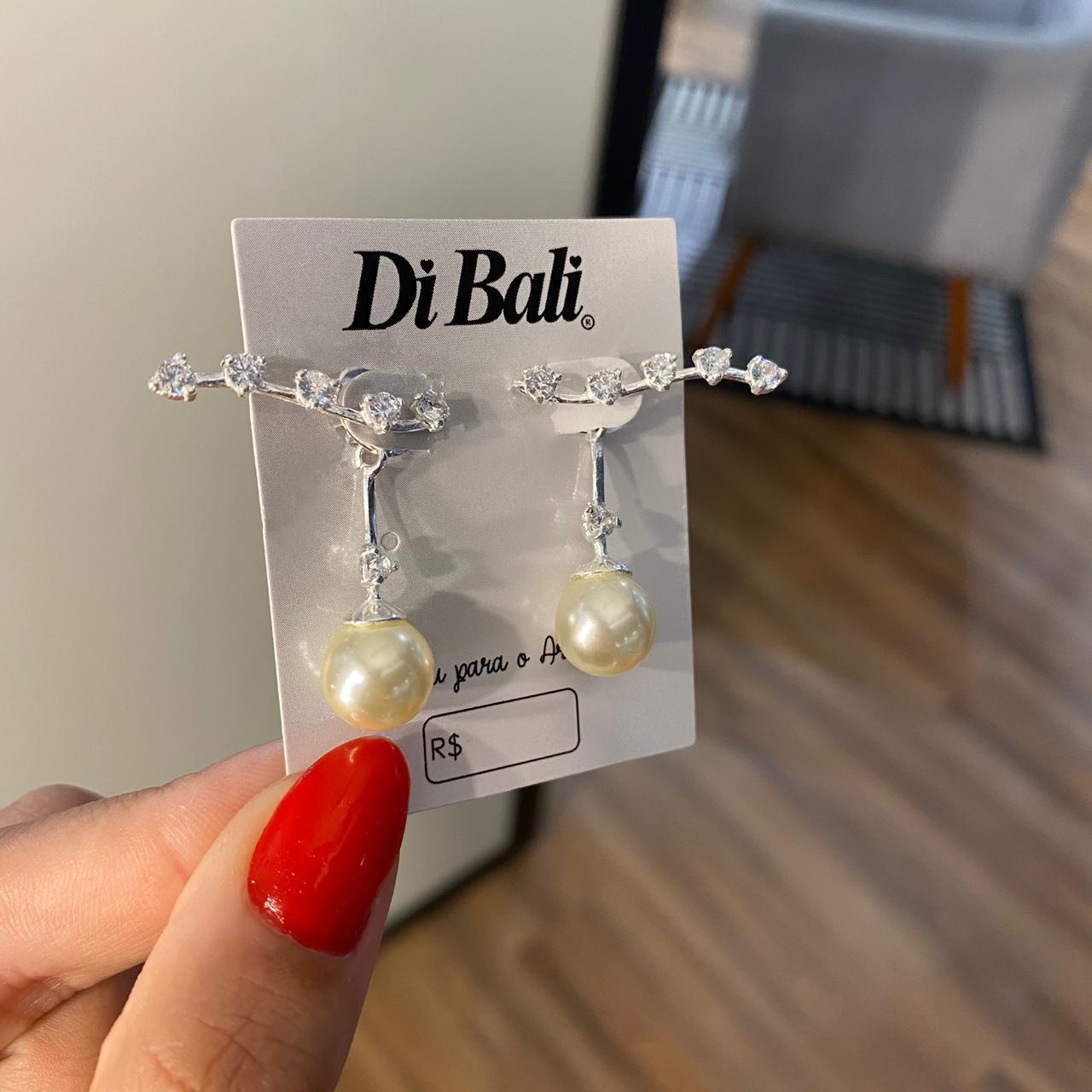 Brinco de Prata Ear Cuff Zircônias e Pérola Pendurada - Coleção Mães e Filhos