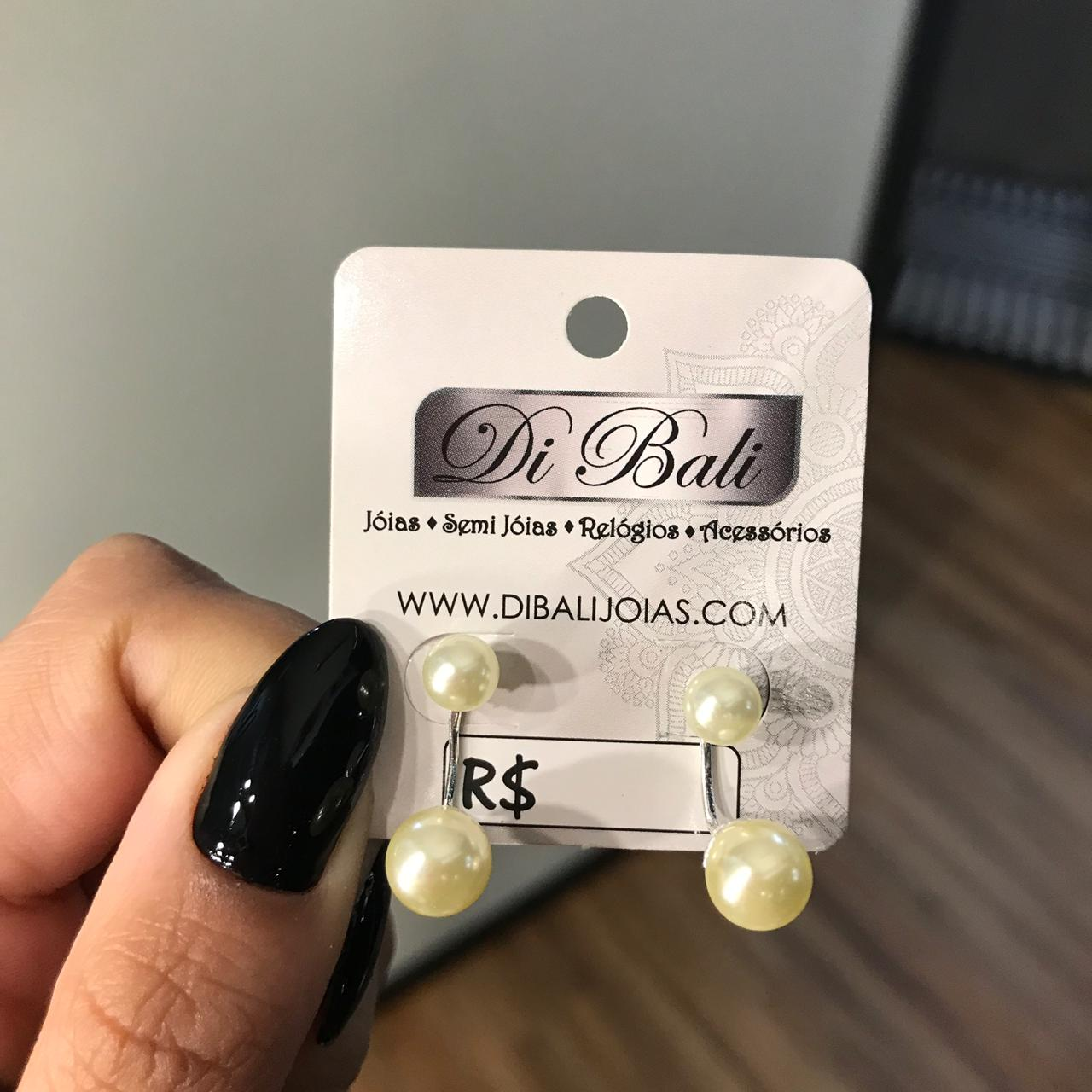 Brinco de Prata Ear Jacket Pérola Dupla